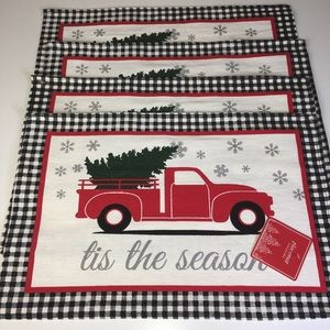 Vintage Red Truck Christmas Placemats.Set Of 4 Winter Christmas Tree Red Truck Placemats Nwt